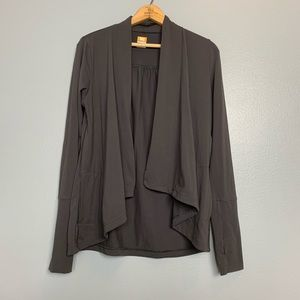 LUCY | powermax Gray slub cardigan wrap